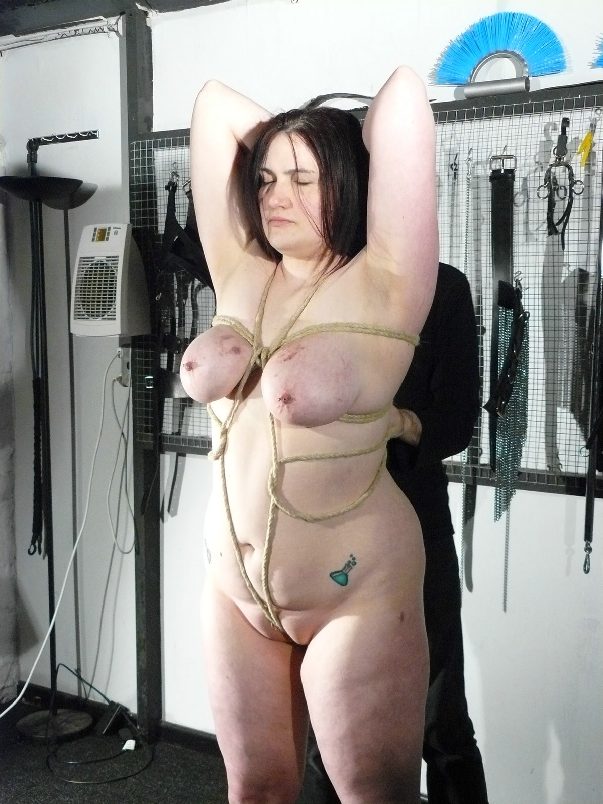 Busty bdsm bondage sub flogged roughly 3